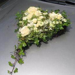 Autoschmuck Herz beige - Rosengesteck - Auto - Hochzeit