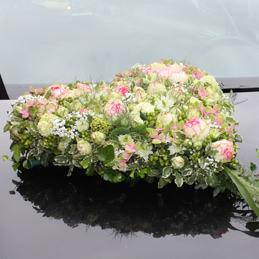 Autoschmuck Hochzeit - Herz weiß/rosa