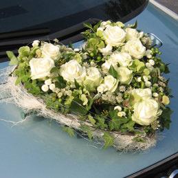 Autoherz für Hochzeit - gelbe Rosen - Blumenherz Autoschmuck - Blumen Eder