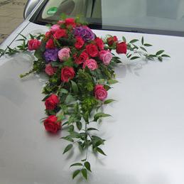Autoschmuck - Rosengesteck rot - Auto - Hochzeit