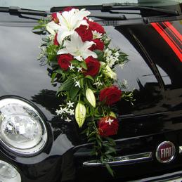 Autoschmuck - Rosengesteck mit Lilien - Auto - Hochzeit