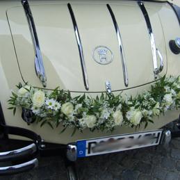 Autoschmuck - Autogirlande weiß - Blumen Eder