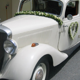 Autoschmuck - Herz Fahrertür und Autogirlande an Frontscheibe - Hochzeit