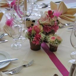 Tischdekoration zur Hochzeit von Blumenhaus Eder